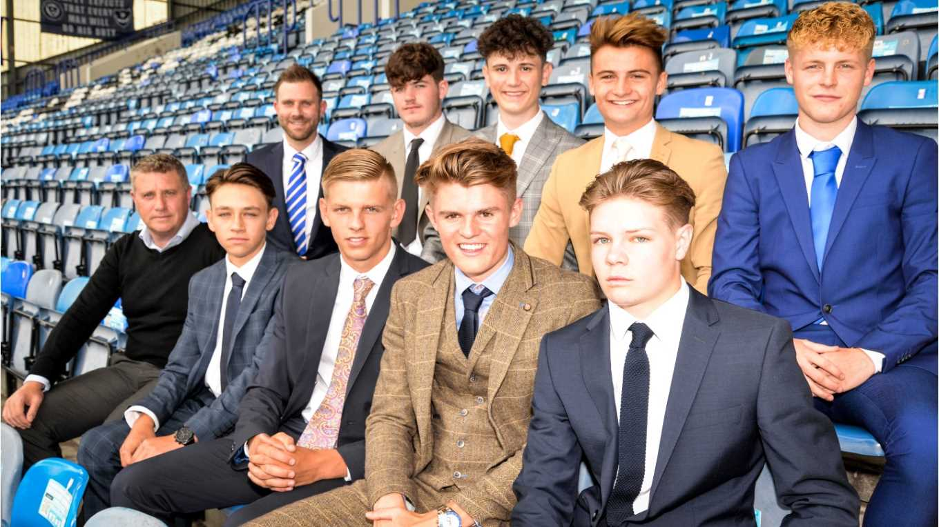 Pompey's 2017/18 batch of apprentices at Fratton Park