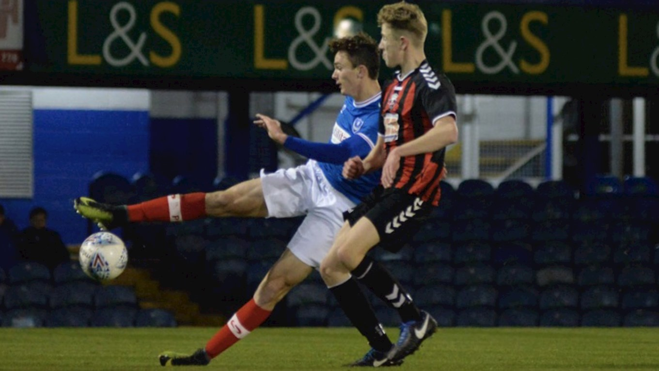 Pompey Academy in FA Youth Cup action against Lewes at Fratton Park