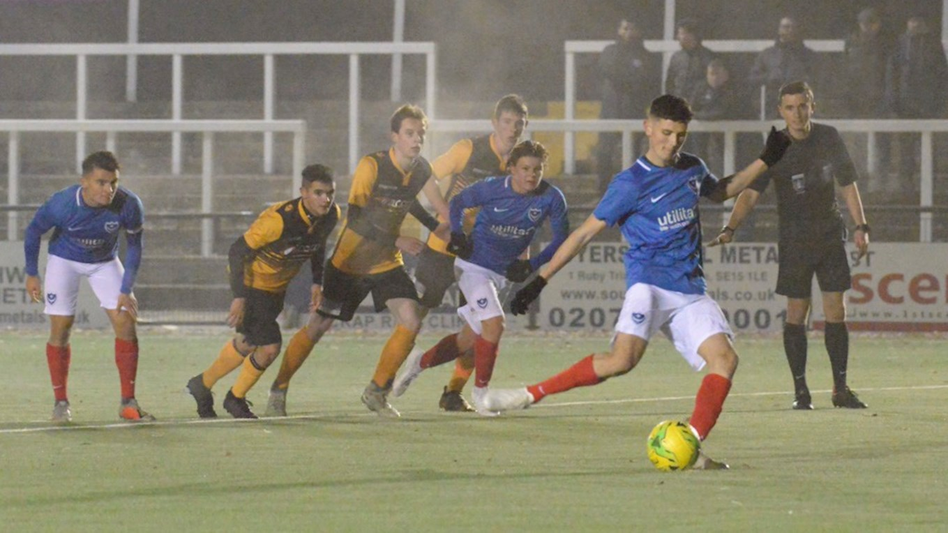 Leon Maloney scores for Pompey Academy at Cray in the FA Youth Cup