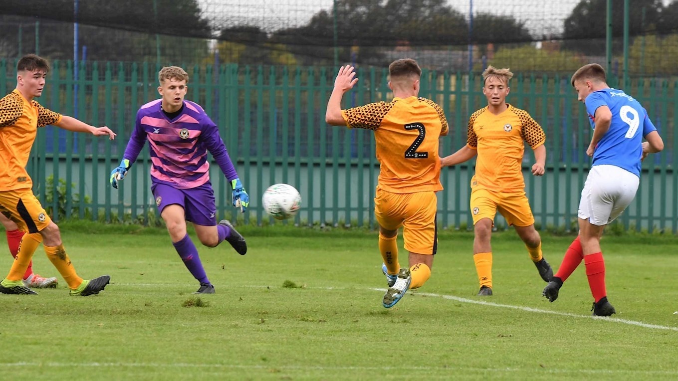 Alfie Stanley scores for Pompey Academy against Newport