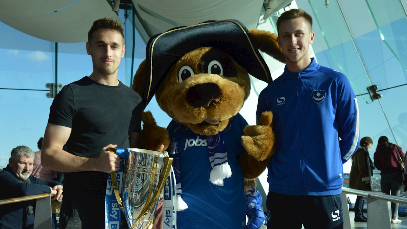 Brandon Haunstrup and Adam celebrate Pompey in the Community's partnership with Emirates Spinnaker Tower