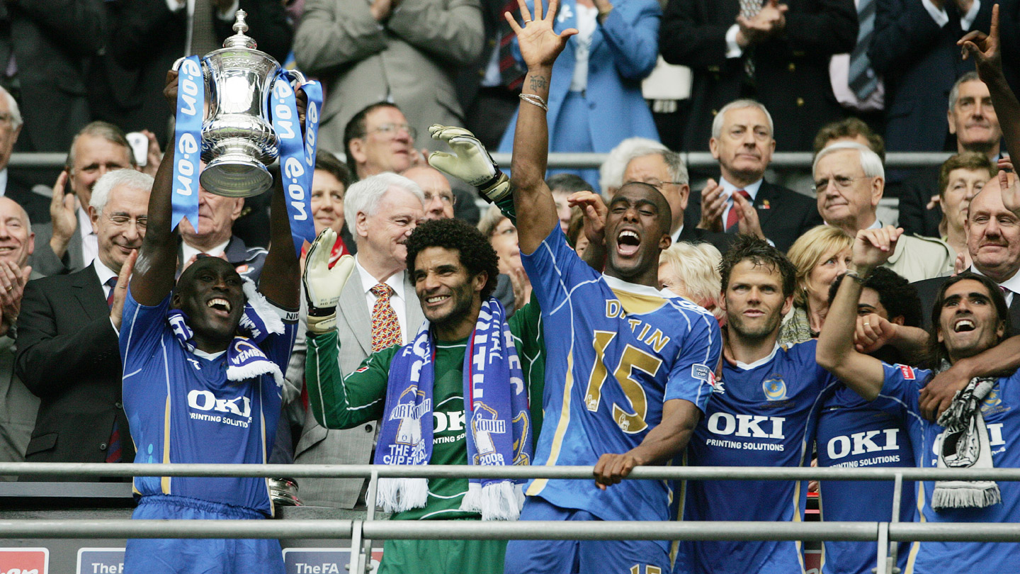Sol Campbell lifts the FA Cup for Pompey at Wembley in 2008