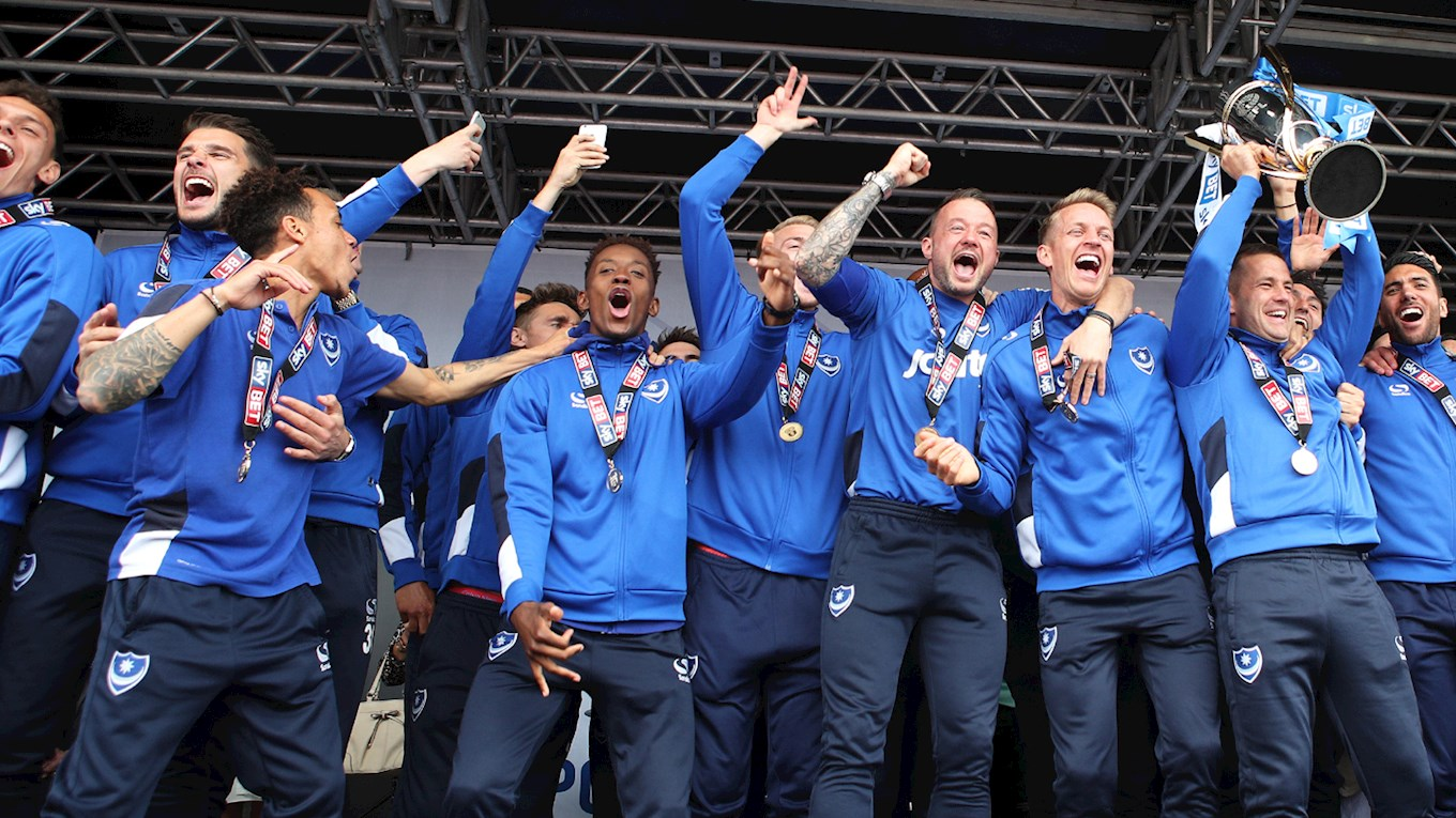 Pompey squad celebrate winning League Two title on Southsea common