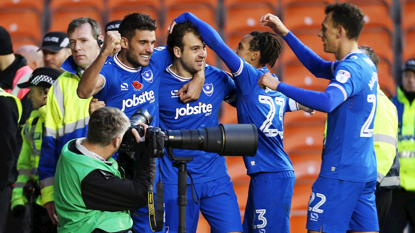 Brett Pitman celebrates scoring for Pompey at Blackpool