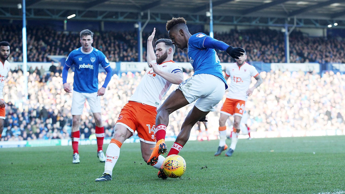 Jamal Lowe in action for Pompey against Blackpool at Fratton Park