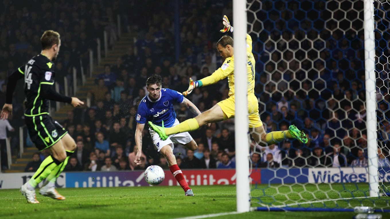 Oliver Hawkins stoops to head home his first Pompey goal against Bristol Rovers at Fratton Park