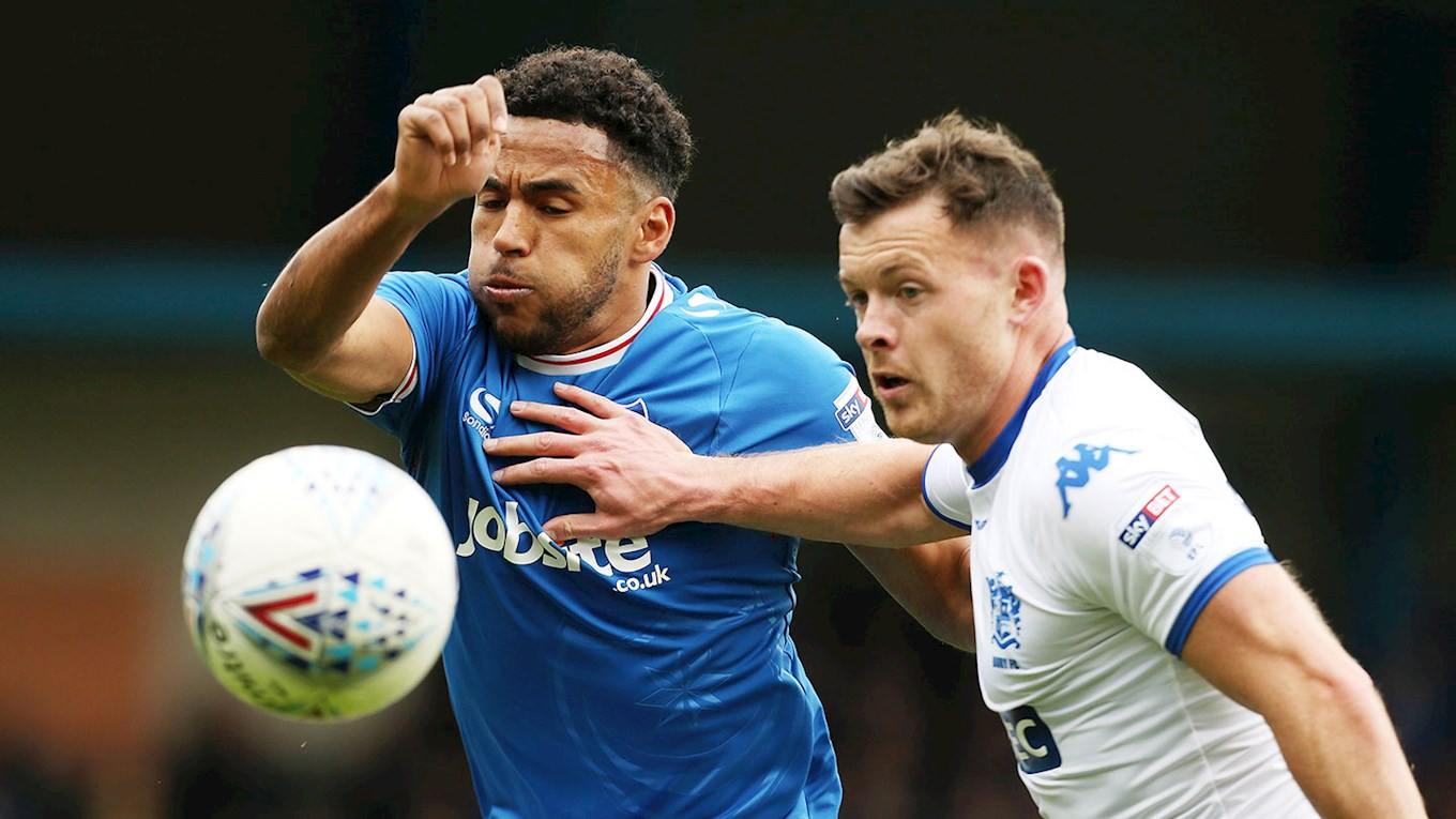 Nathan Thompson in action for Pompey at Bury