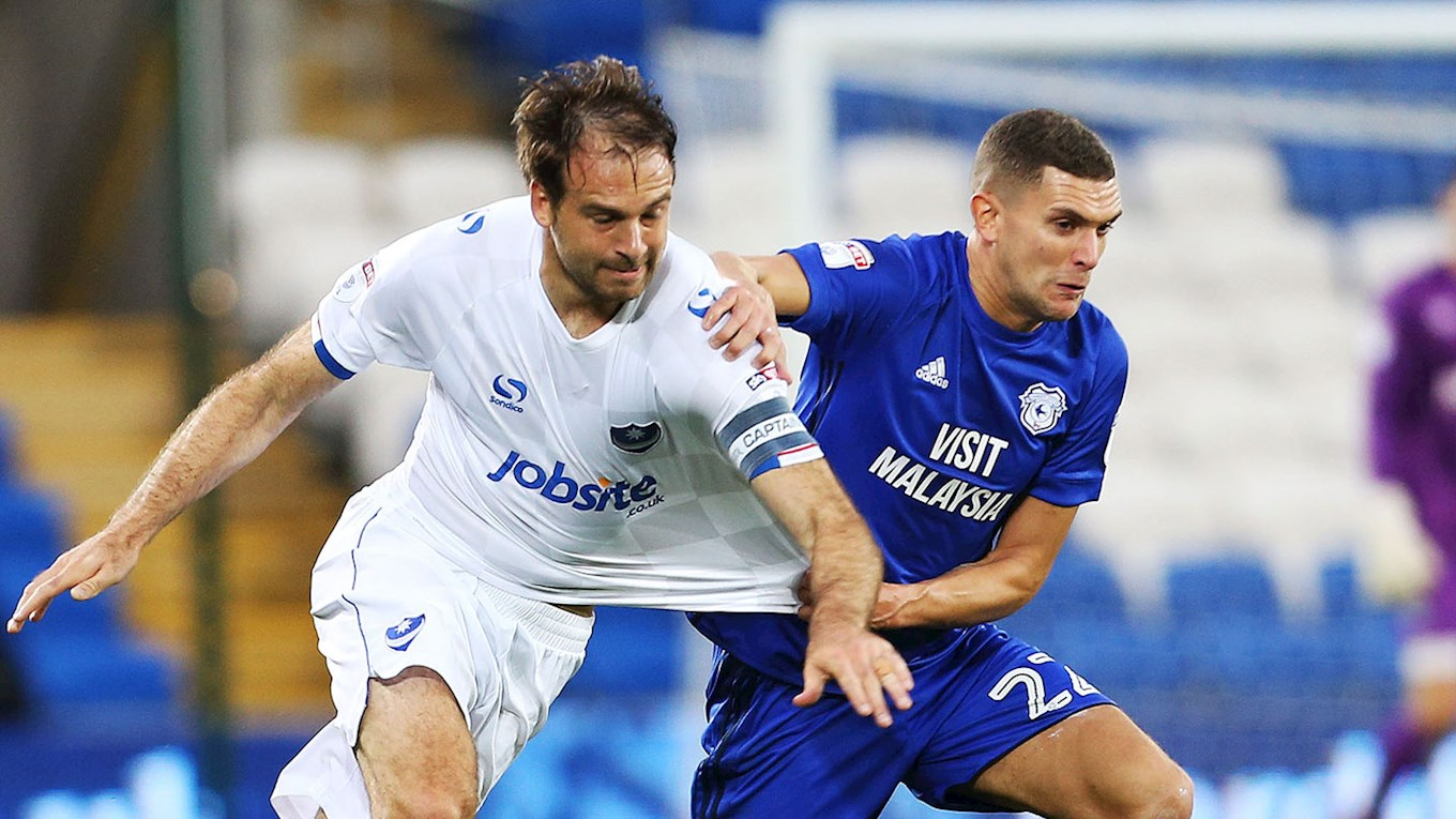 Brett Pitman in action for Pompey at Cardiff