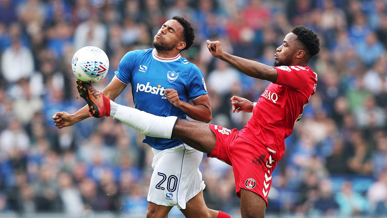 Nathan Thompson in action for Pompey against Charlton Athletic at Fratton Park
