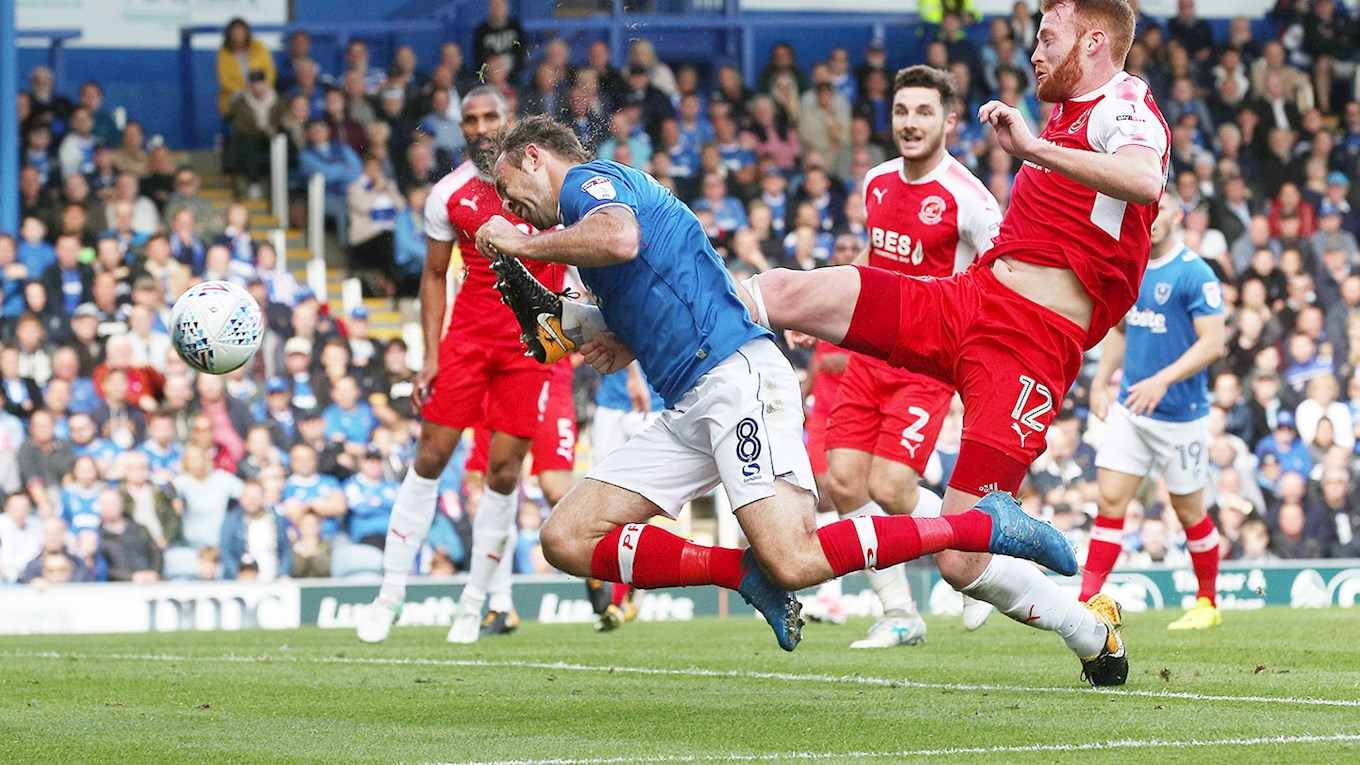 Brett Pitman in action for Pompey against Fleetwood Town at Fratton Park