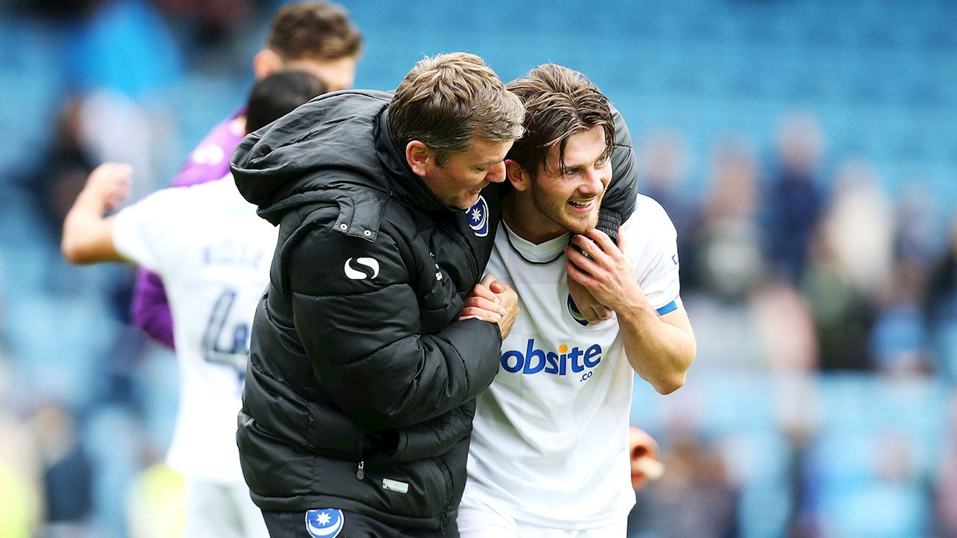Joe Gallen congratulates Matty Kennedy after Pompey's win at Gillingham