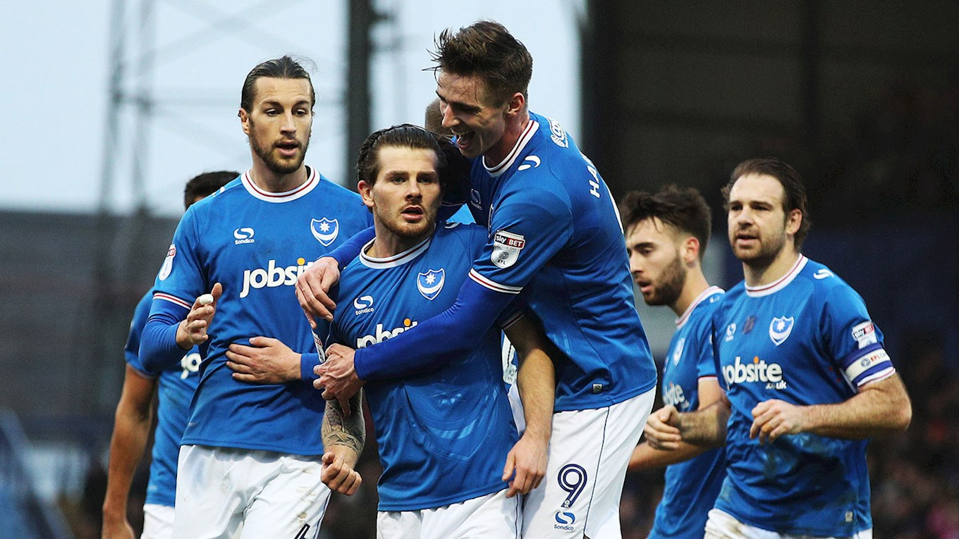 Matty Kennedy celebrates scoring for Pompey against Northampton Town at Fratton Park