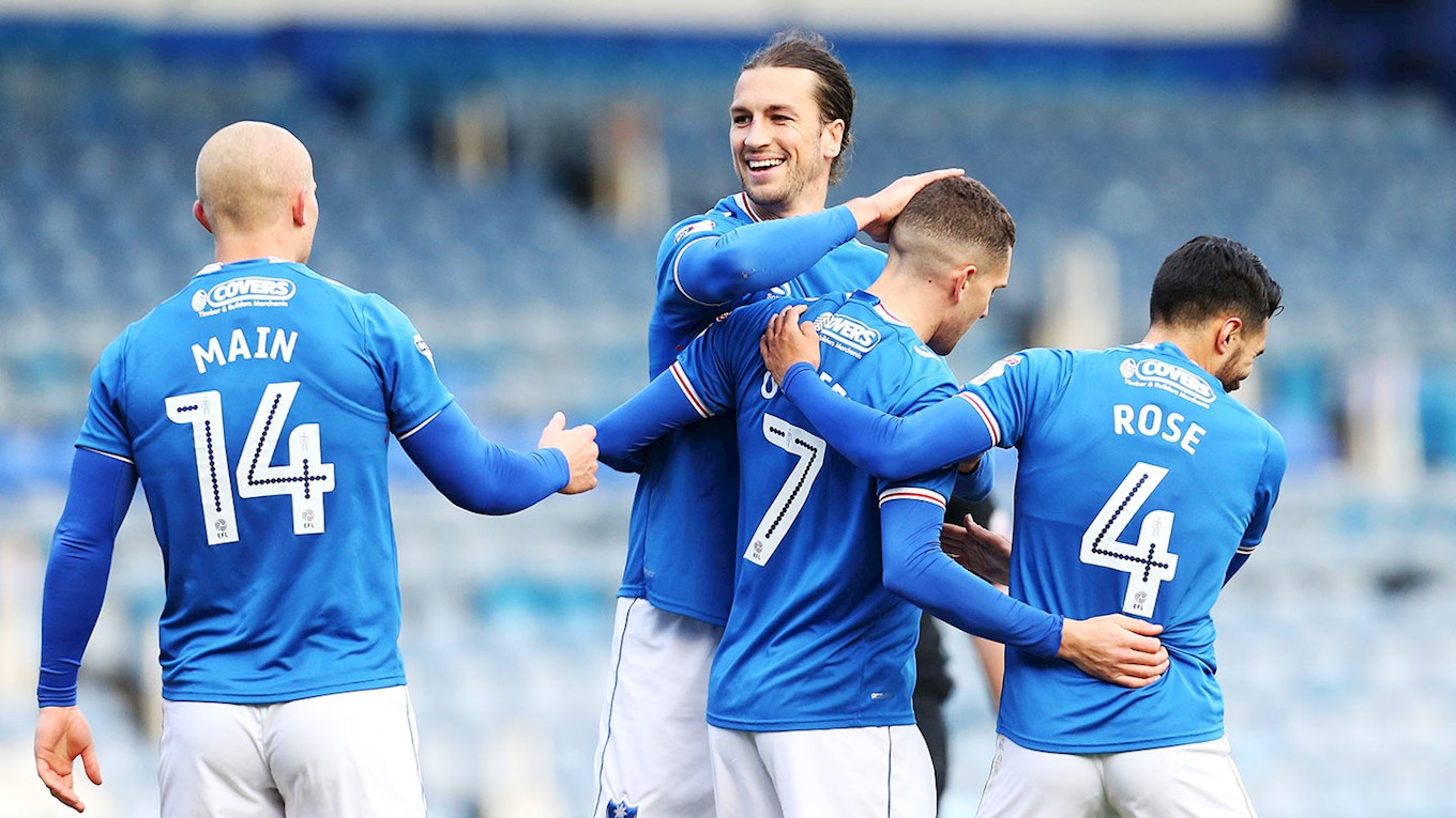 Pompey celebrate scoring against Northampton Town at Fratton Park in the Checkatrade Trophy
