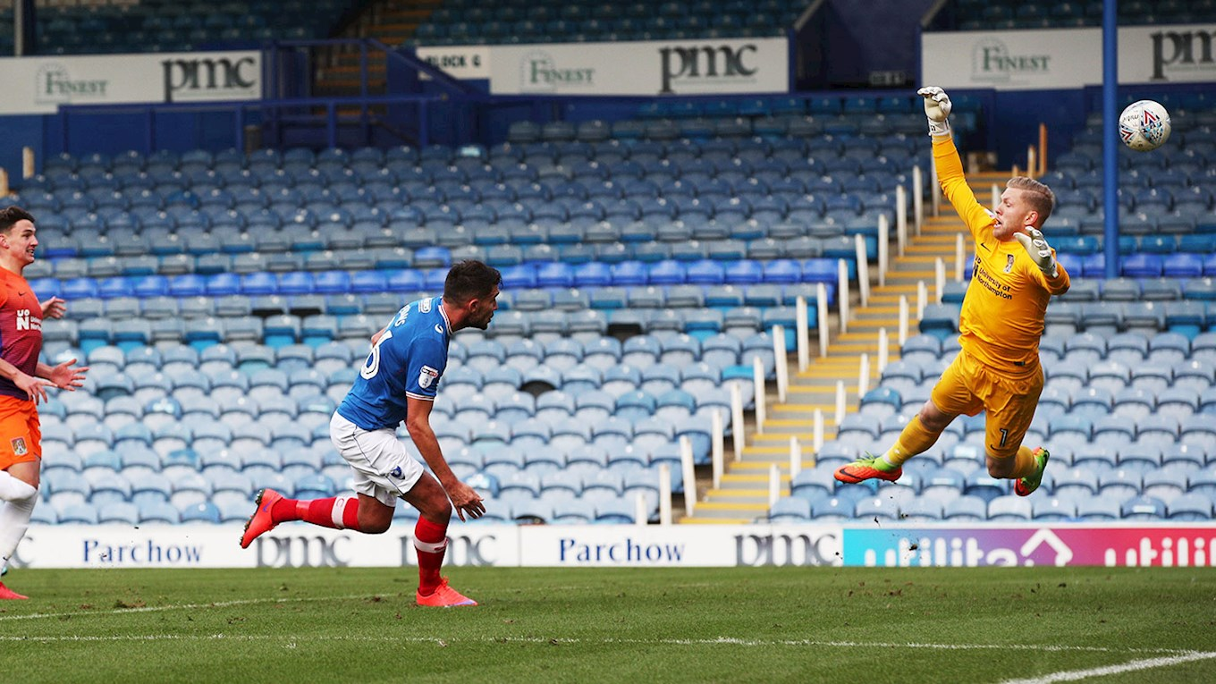 Gareth Evans scores for Pompey against Northampton Town at Fratton Park in the Checkatrade Trophy