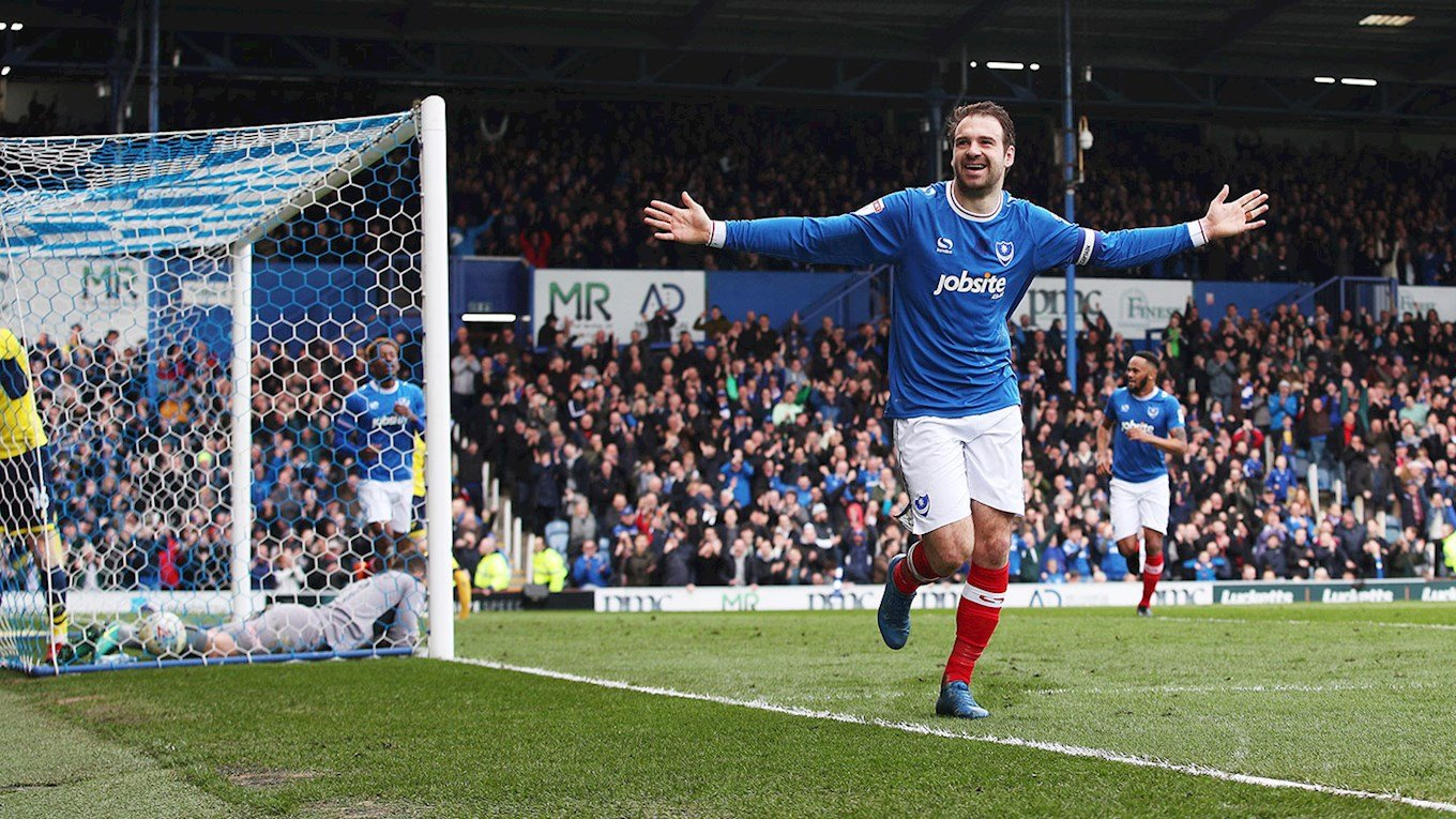 Brett Pitman celebrates scoring for Pompey against Oxford United at Fratton Park