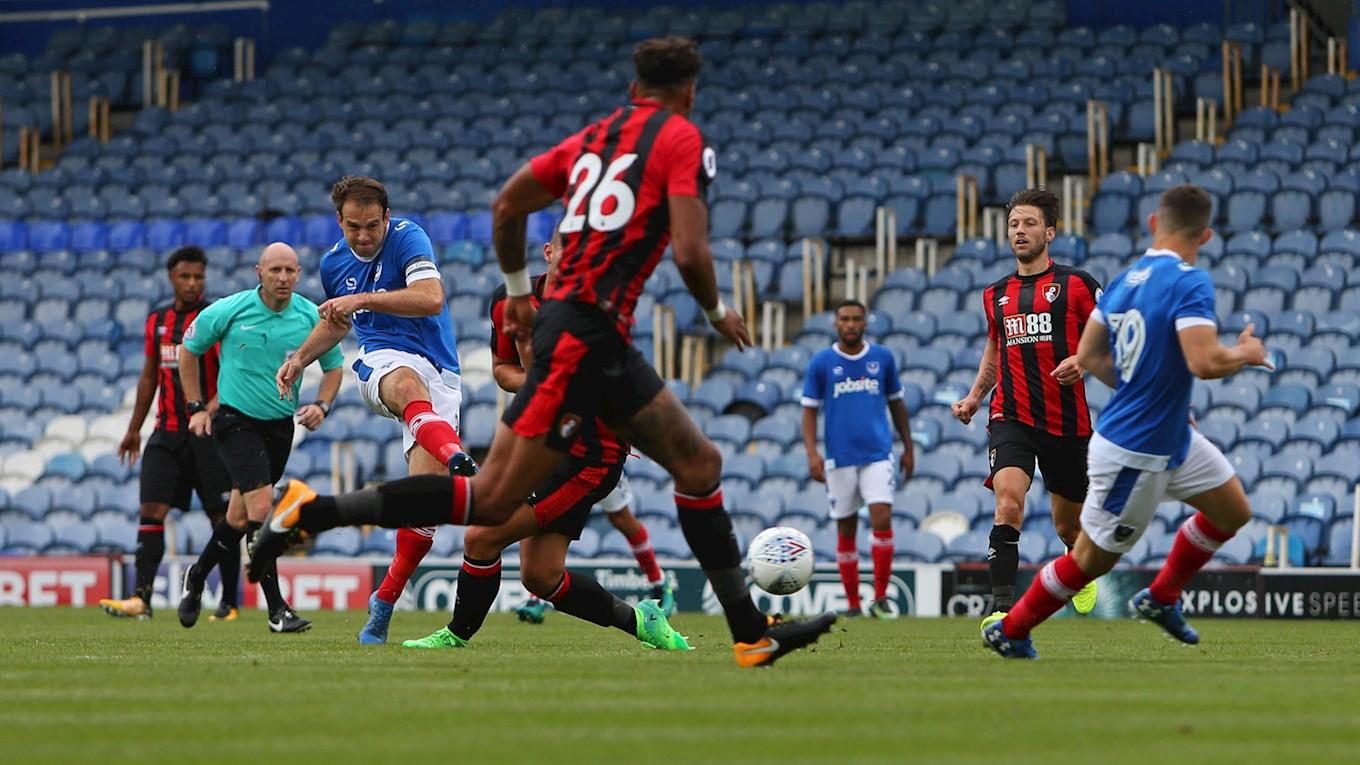 Brett Pitman shoots for Pompey against Bournemouth at Fratton Park