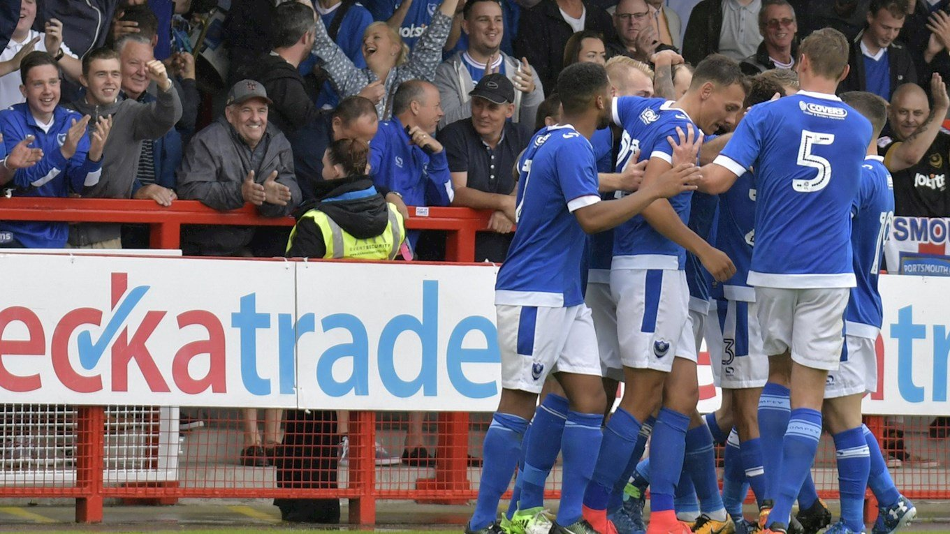 Pompey in action at Crawley Town