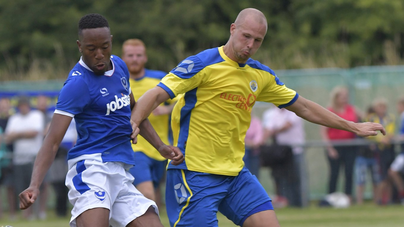 Nicke Kabamba in action for Pompey at Newport (IW)