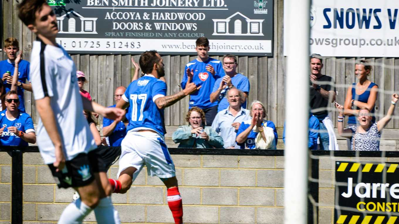 Milan Lalkovic celebrates after scoring for Pompey at Salisbury