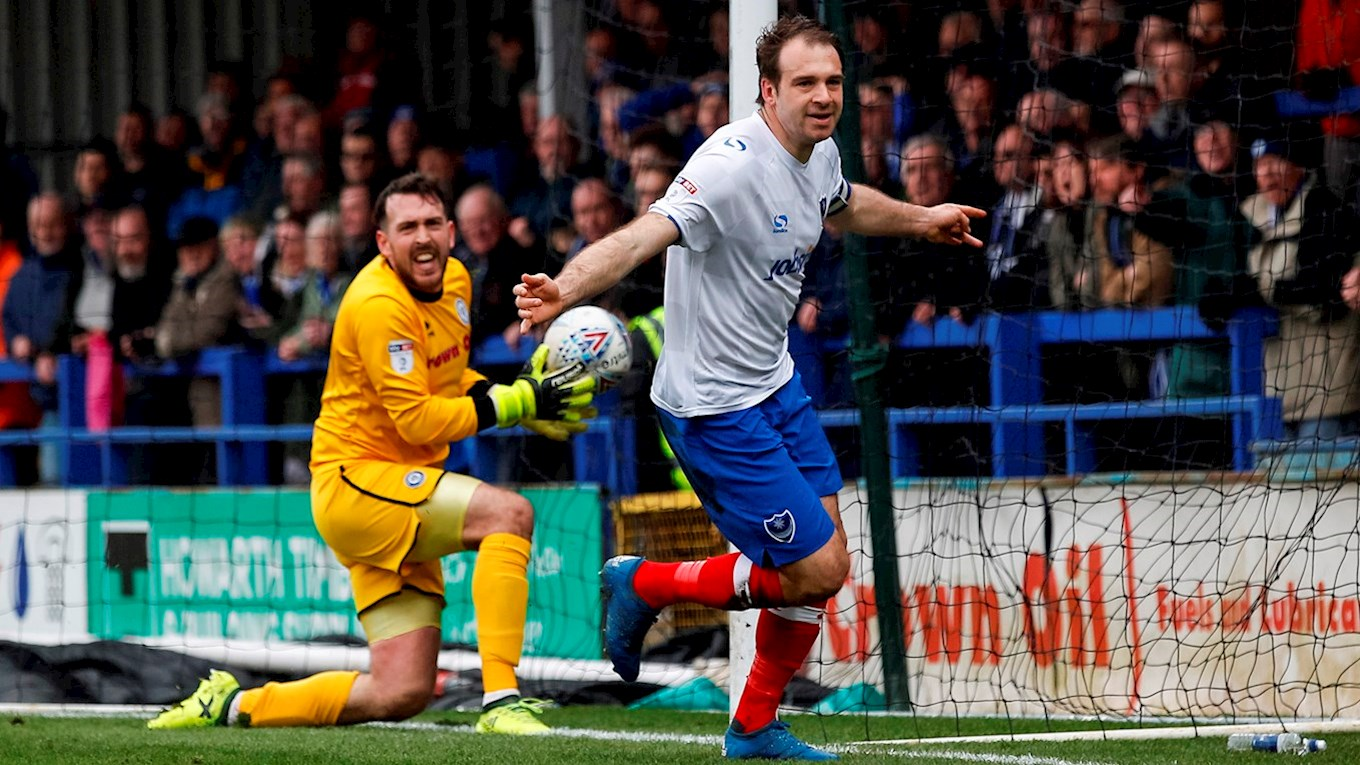Brett Pitman celebrates scoring for Pompey at Rochda