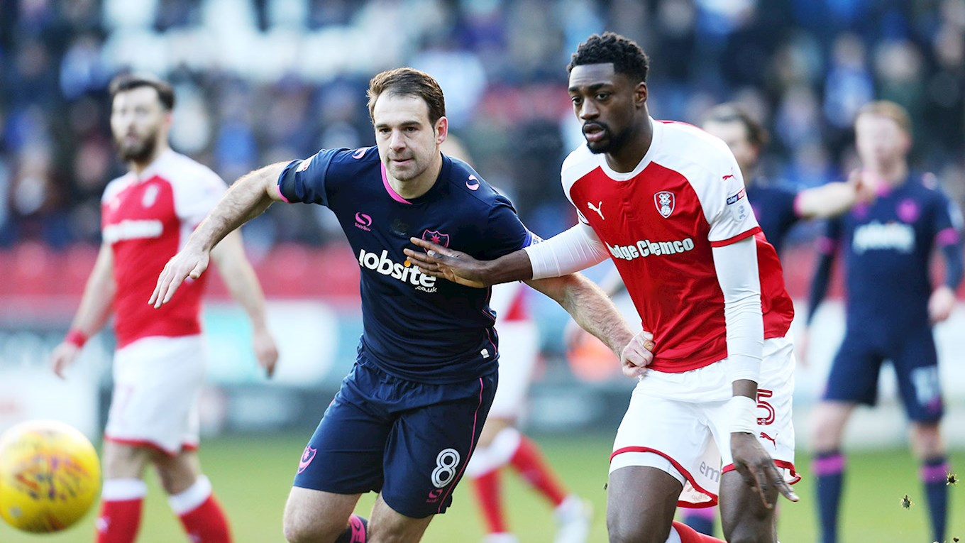 Brett Pitman in action for Pompey at Rotherham United