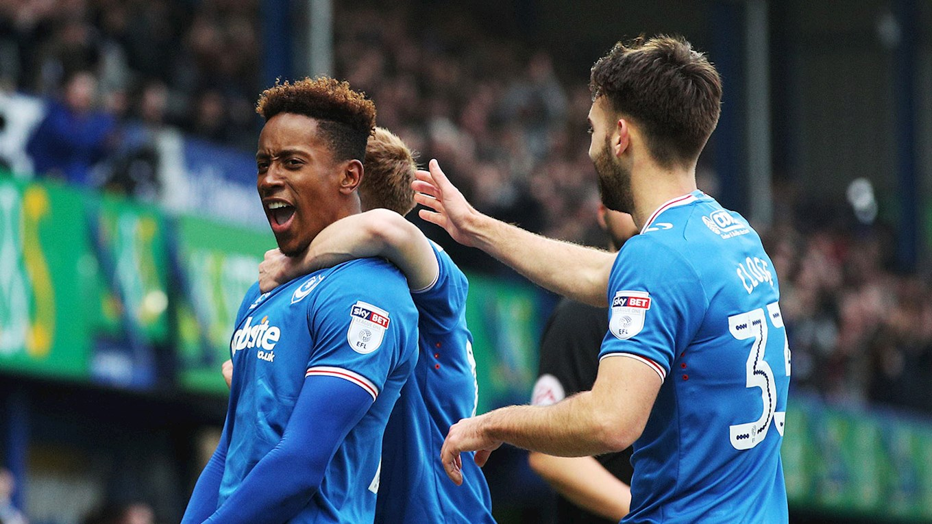 Jamal Lowe celebrates scoring for Pompey against Scunthorpe United at Fratton Park