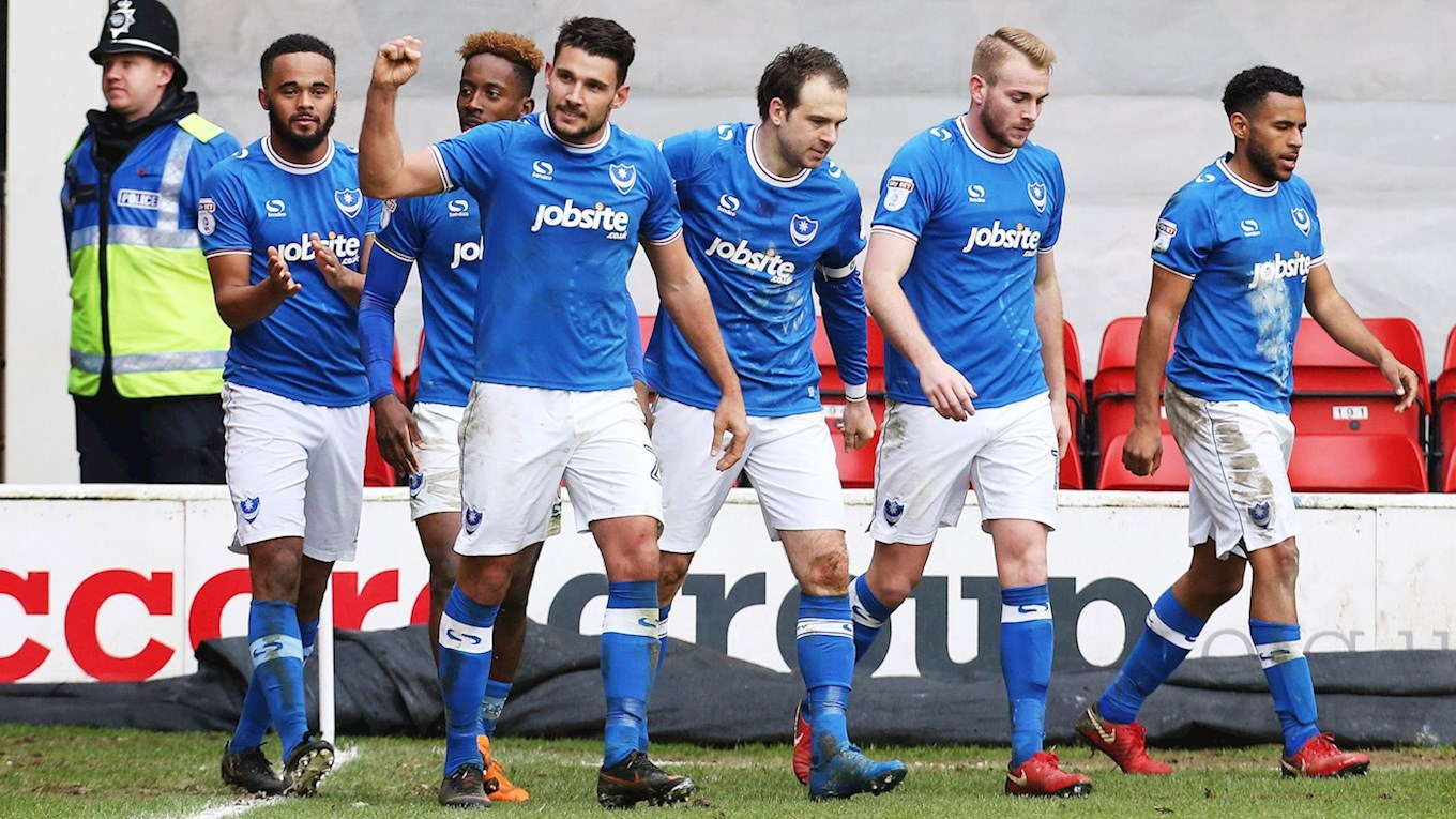 Gareth Evans celebrates scoring for Pompey at Walsall