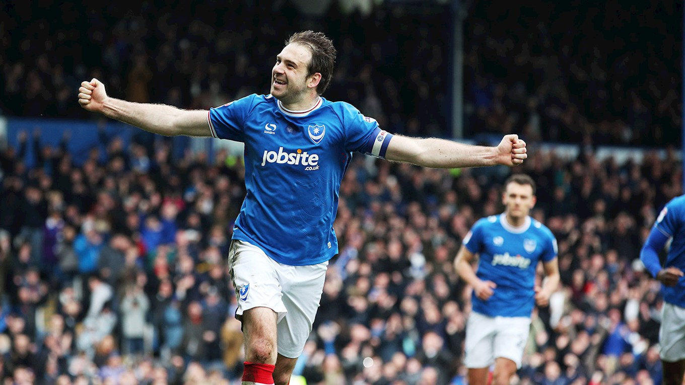 Brett Pitman celebrates scoring for Pompey against Wigan Athletic at Fratton Park