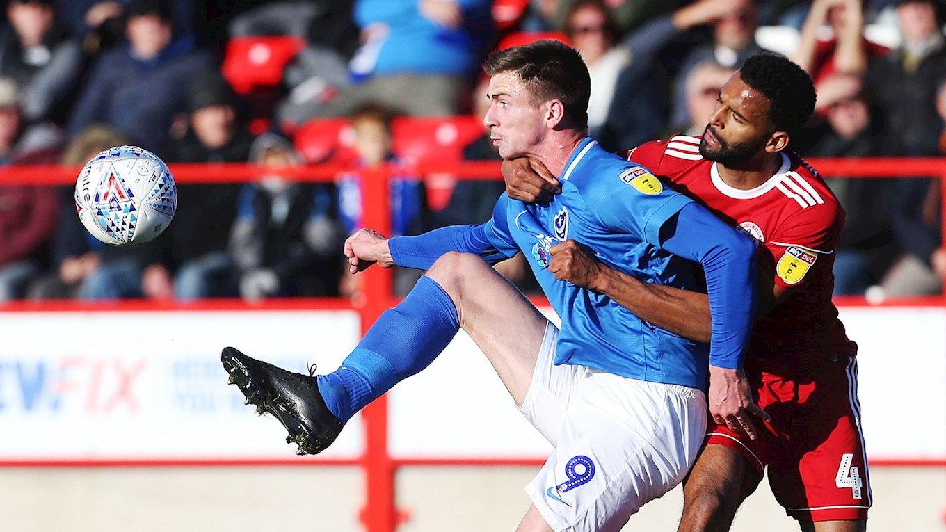 Oli Hawkins in action for Pompey at Accrington Stanley