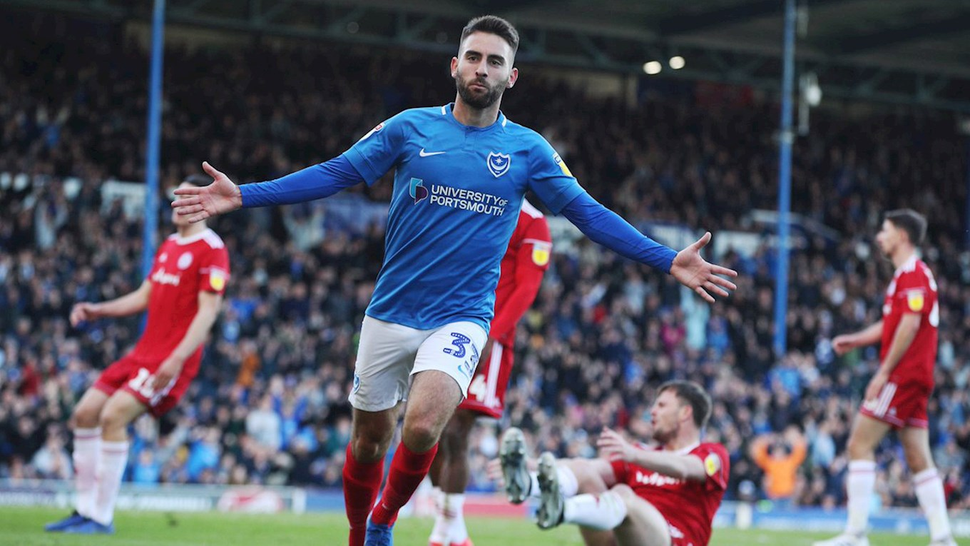 Ben Close celebrates scoring for Pompey against Accrington