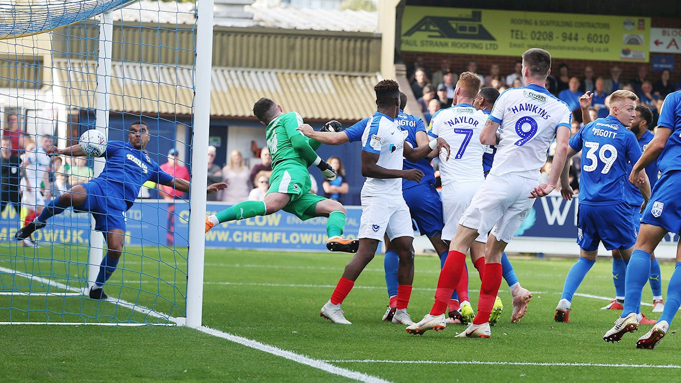 Tom Naylor scores for Pompey at AFC Wimbledon