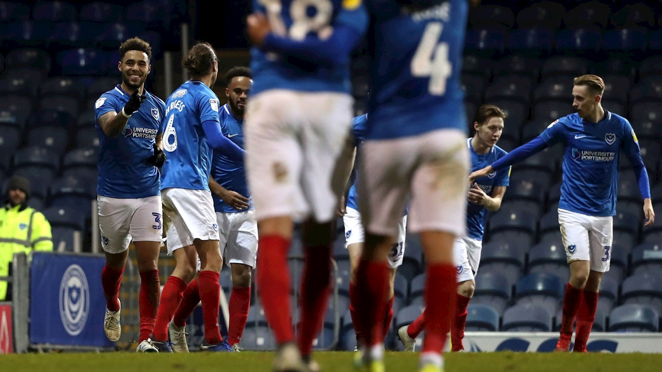 Andre Green celebrates scoring for Pompey against Arsenal