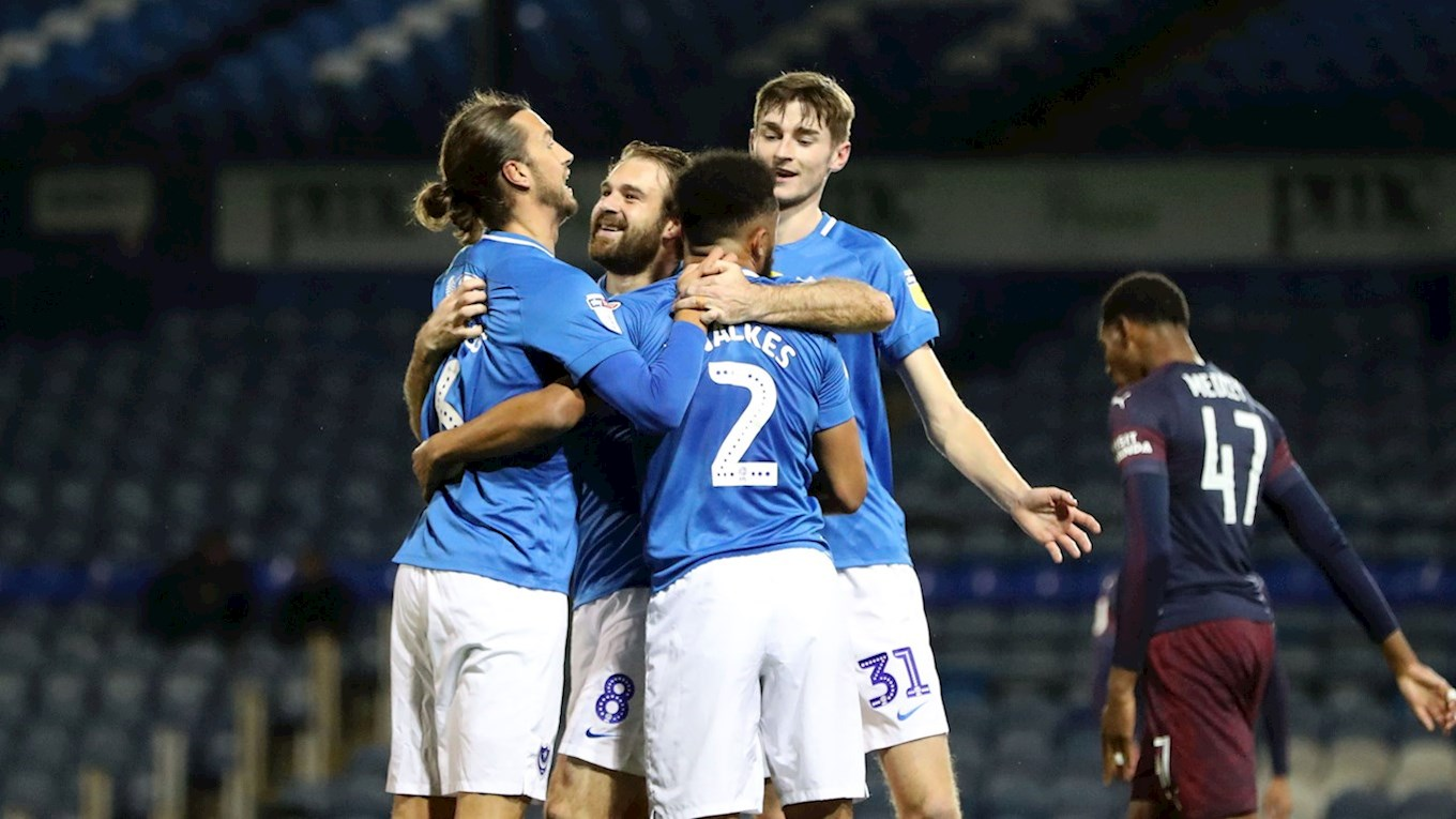 Brett Pitman celebrates scoring for Pompey against Arsenal U21