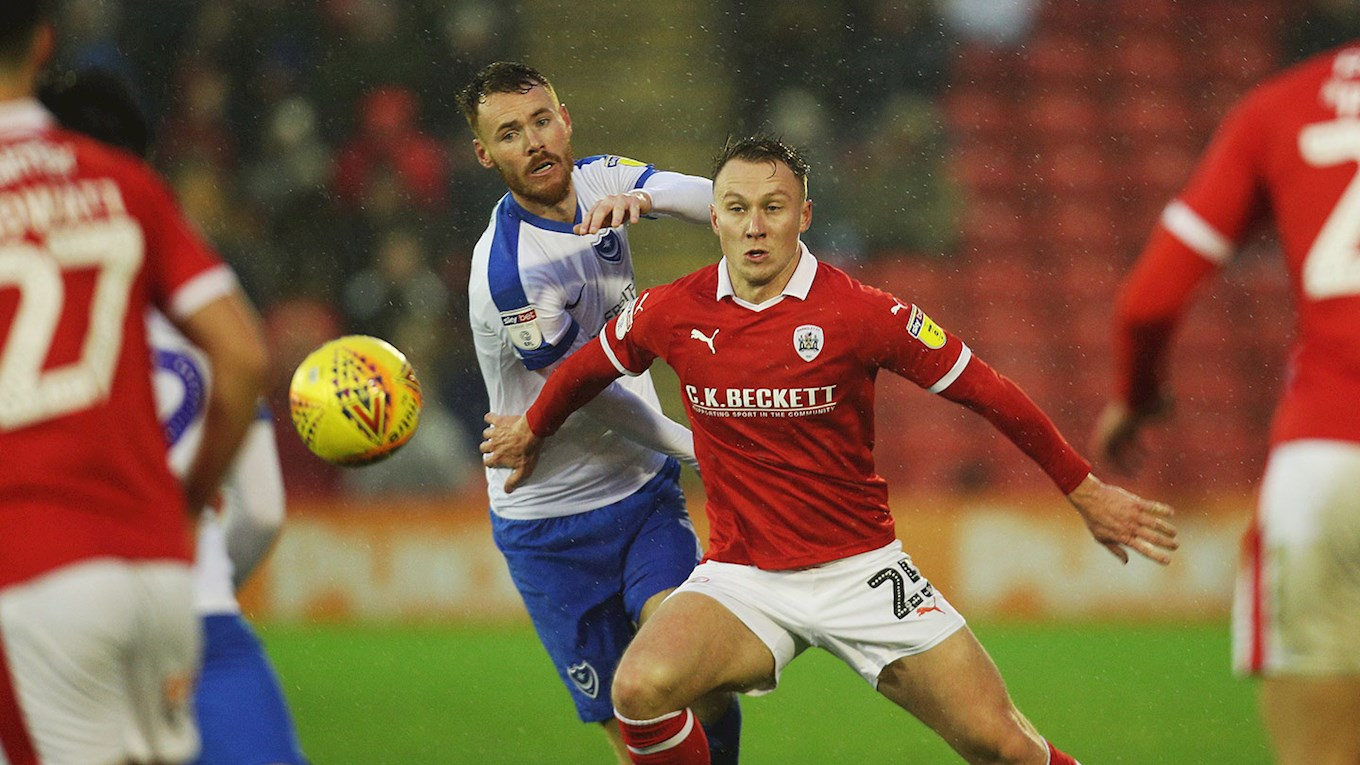 Tom Naylor in action for Pompey at Barnsley