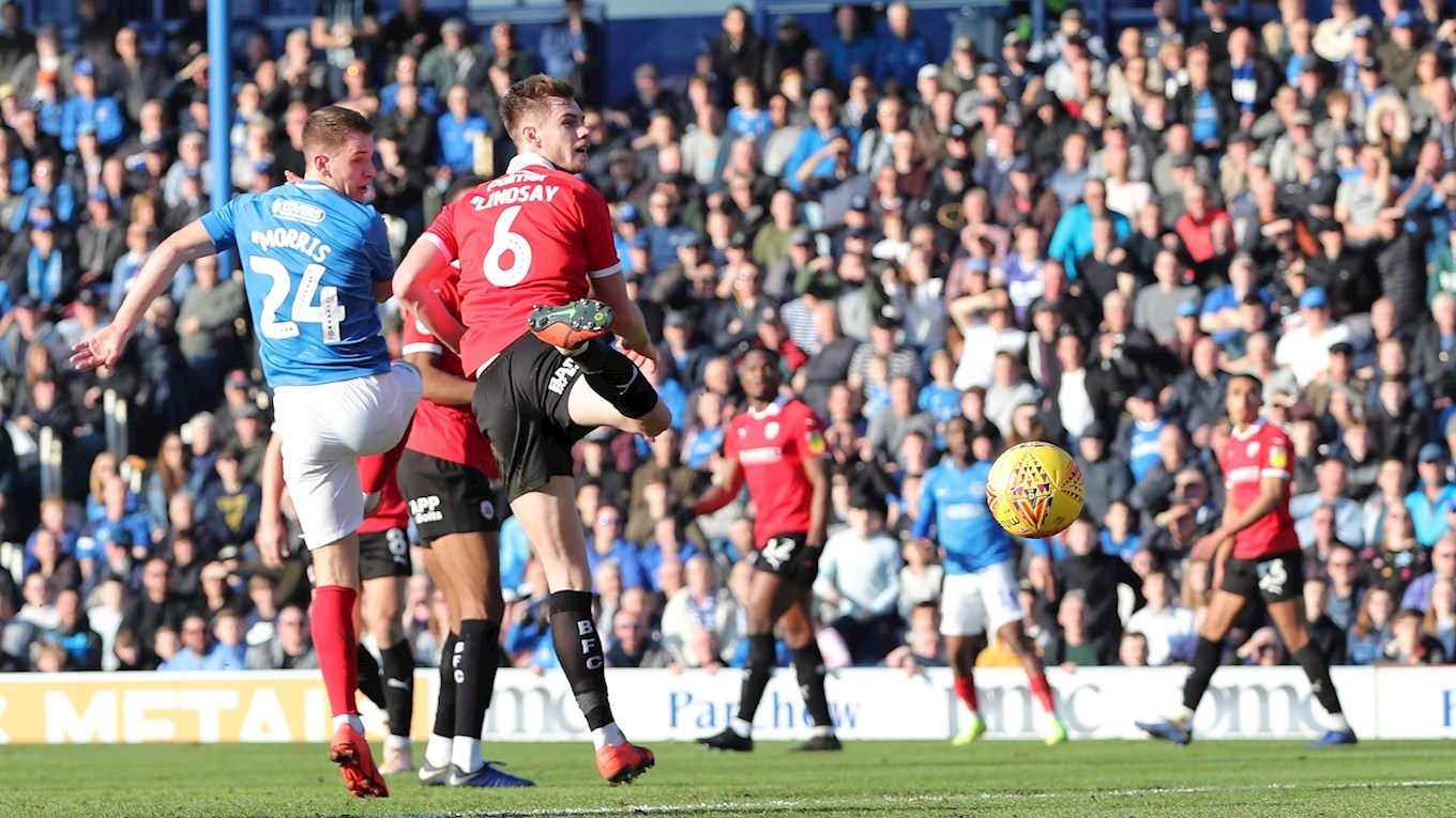 Bryn Morris in action for Pompey against Barnsley