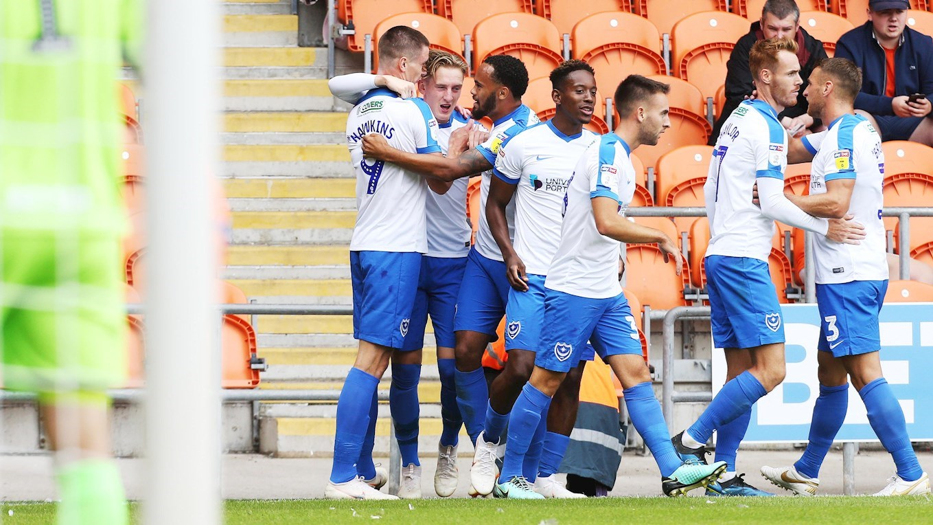 Ronan Curtis celebrates scoring for Pompey at Blackpool