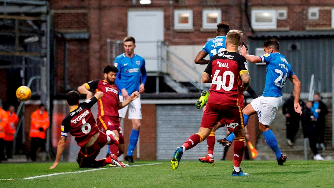 Gareth Evans scores for Pompey at Bradford City