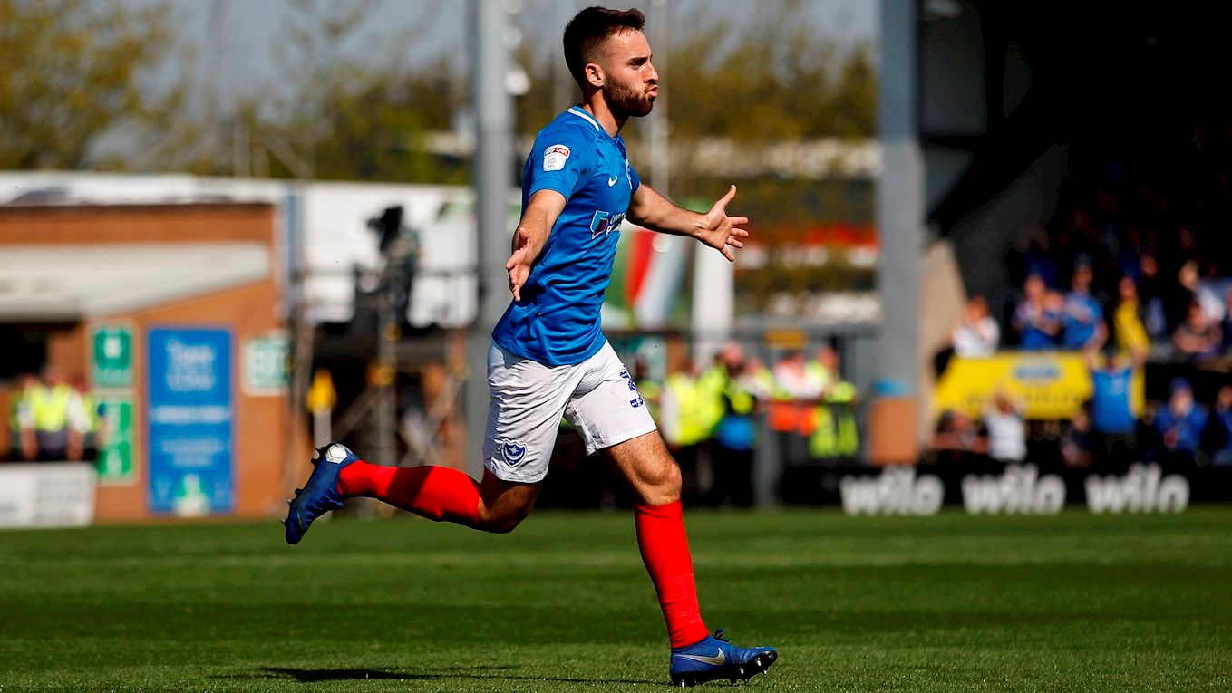 Ben Close celebrates after scoring for Pompey at Burton