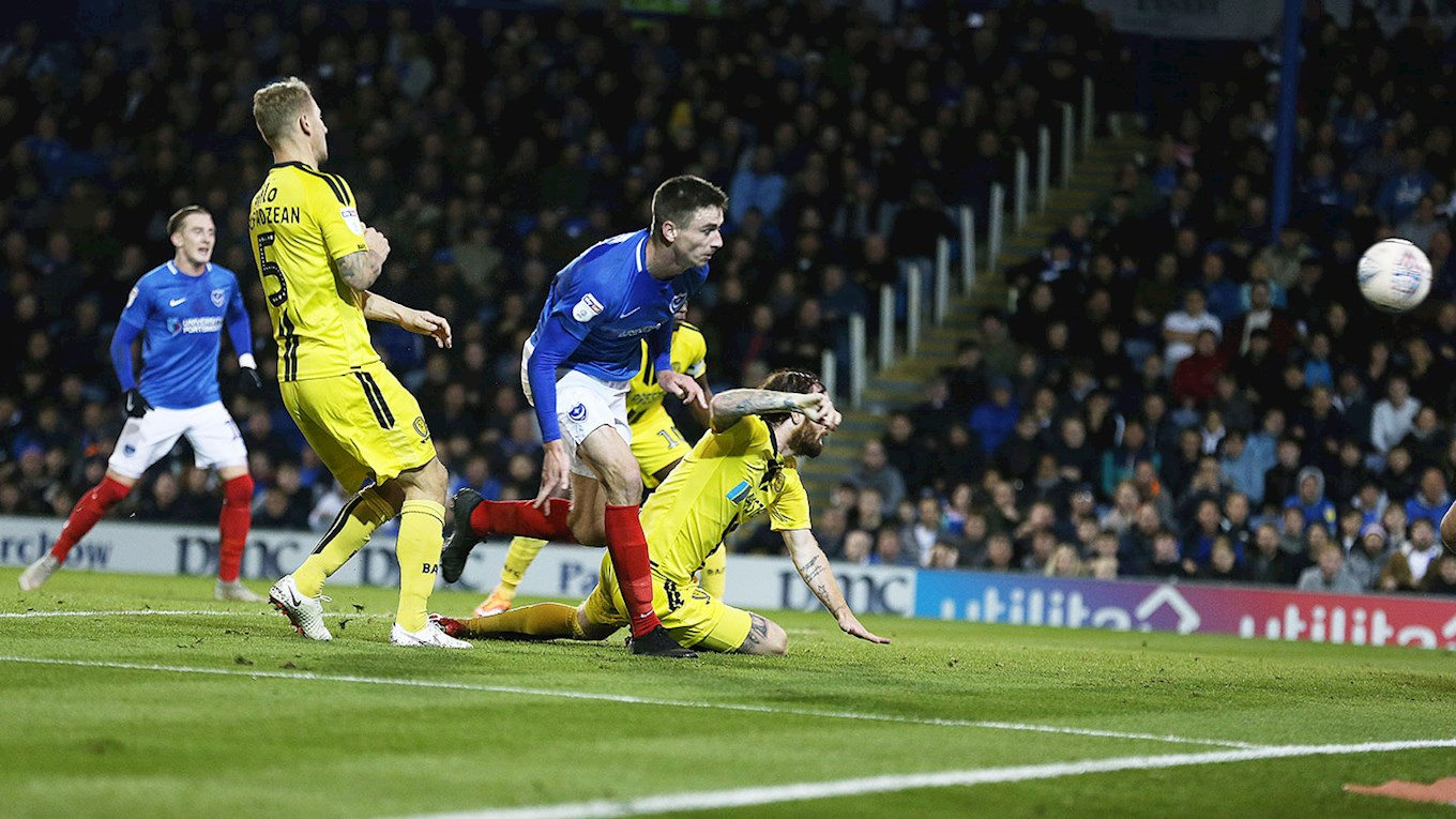 Oli Hawkins scores for Pompey against Burton Albion at Fratton Park