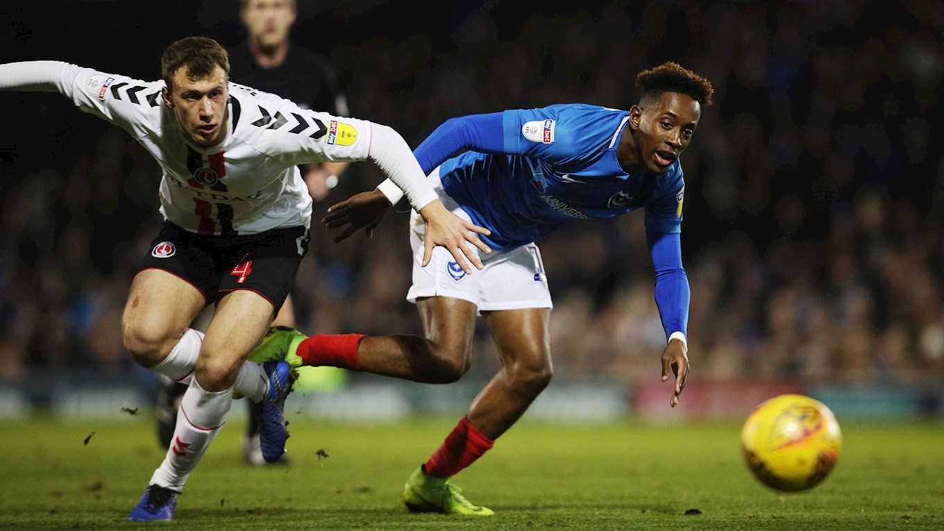 Jamal Lowe in action for Pompey against Charlton Athletic