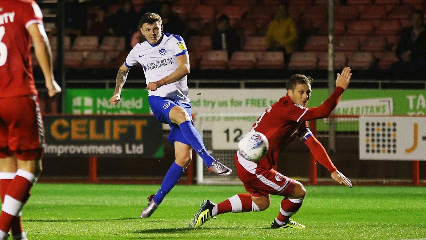 Dion Donohue scores for Pompey at Crawley Town