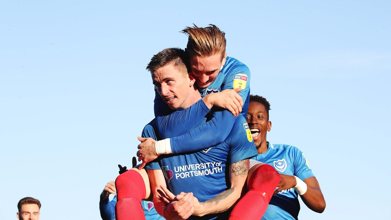 Oli Hawkins celebrates scoring for Pompey against Fleetwood Town