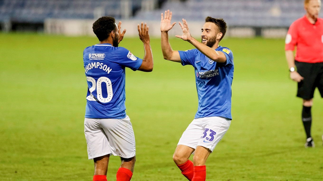Ben Close celebrates scoring for Pompey against Gillingham