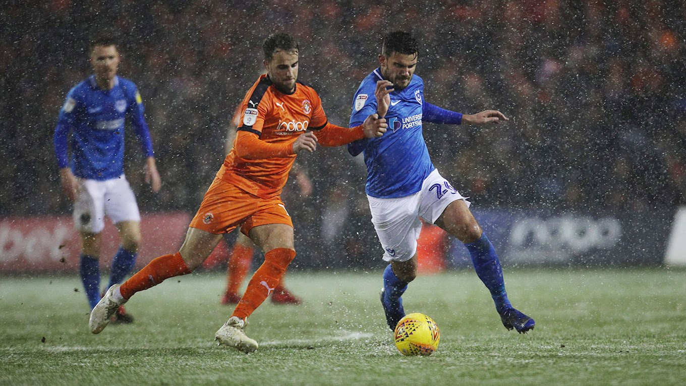 Gareth Evans in action for Pompey at Luton