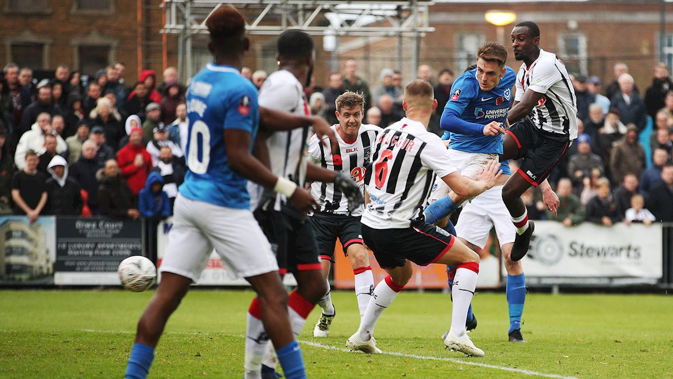 Ben Thompson scores for Pompey at Maidenhead
