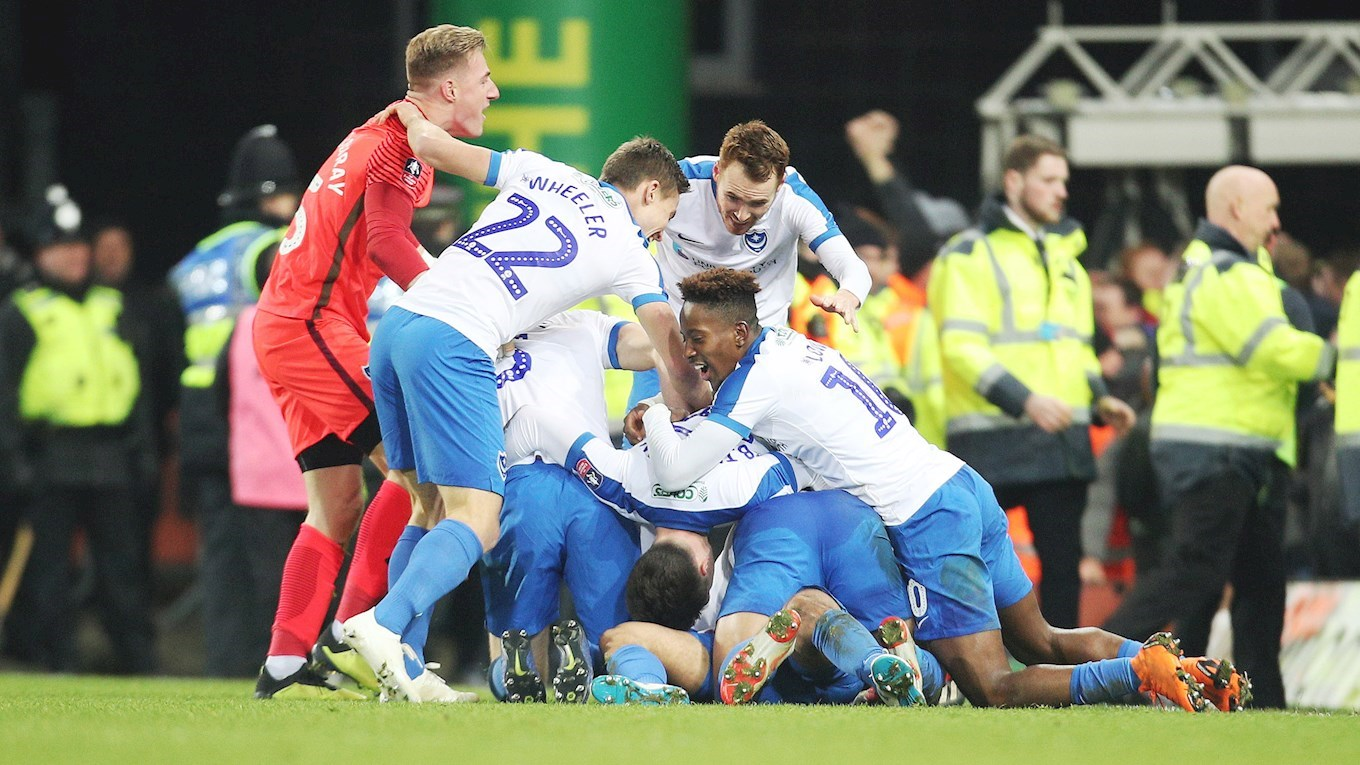 Pompey celebrate their FA Cup goal at Norwich