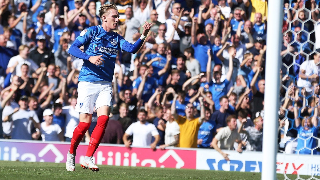 Ronan Curtis celebrates scoring for Pompey against Plymouth Argyle