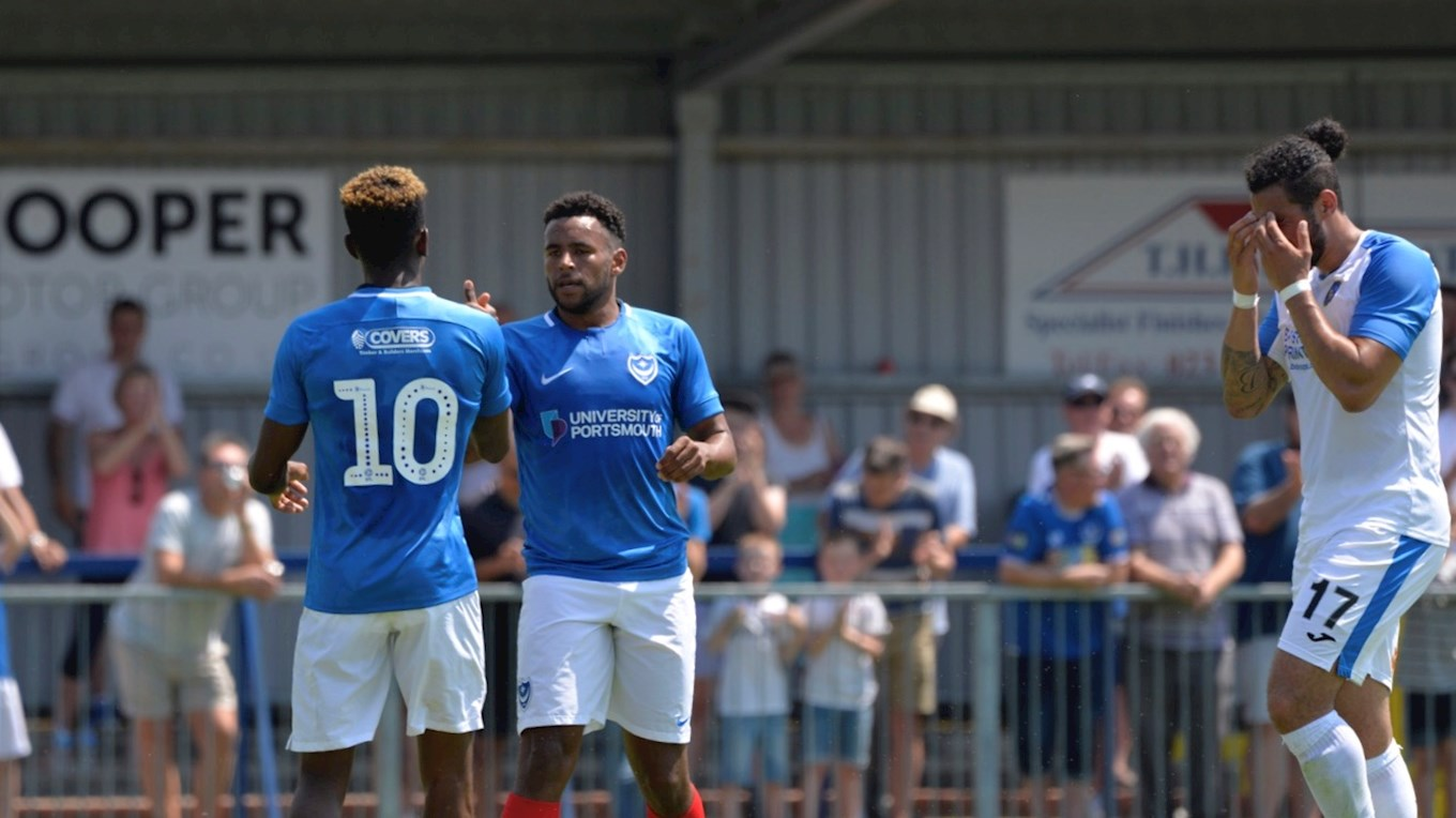 Nathan Thompson celebrates scoring for Pompey at Havant & Waterlooville