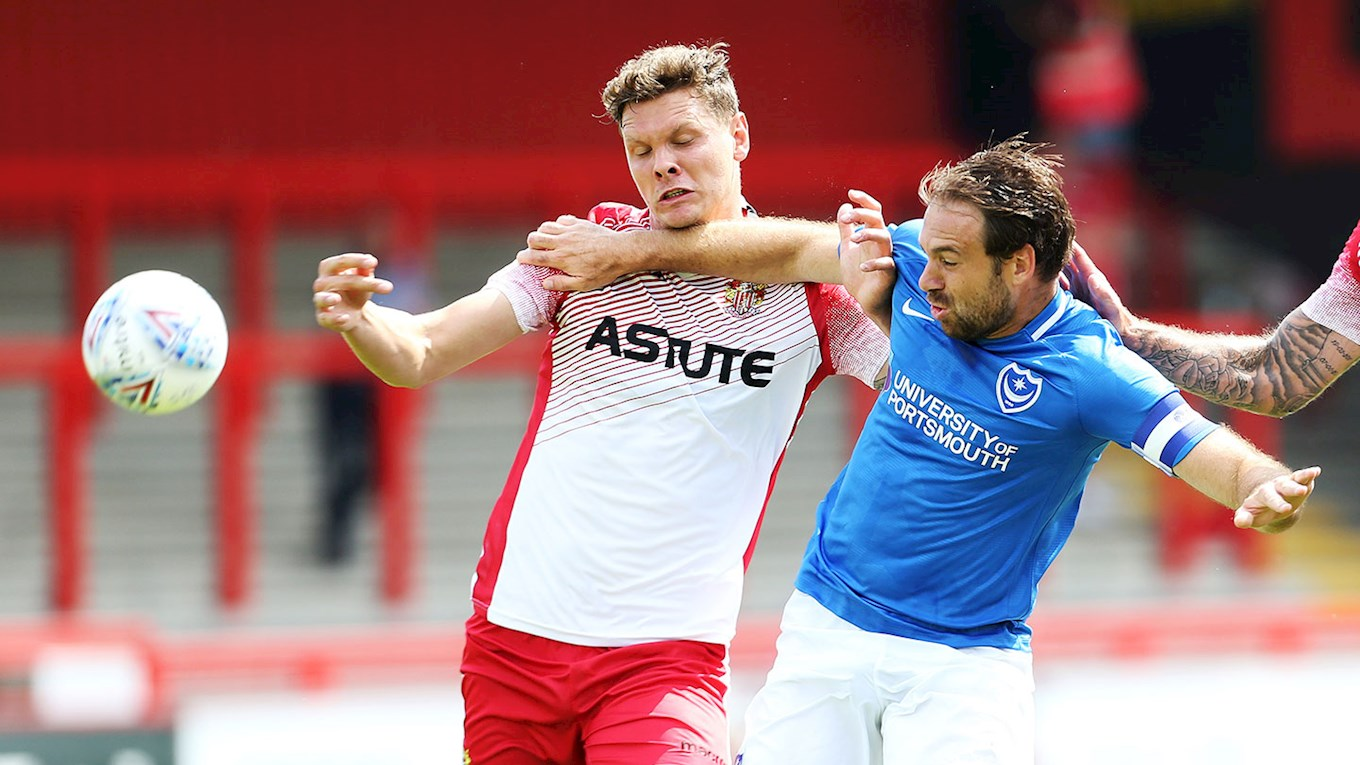 Brett Pitman in action for Pompey at Stevenage