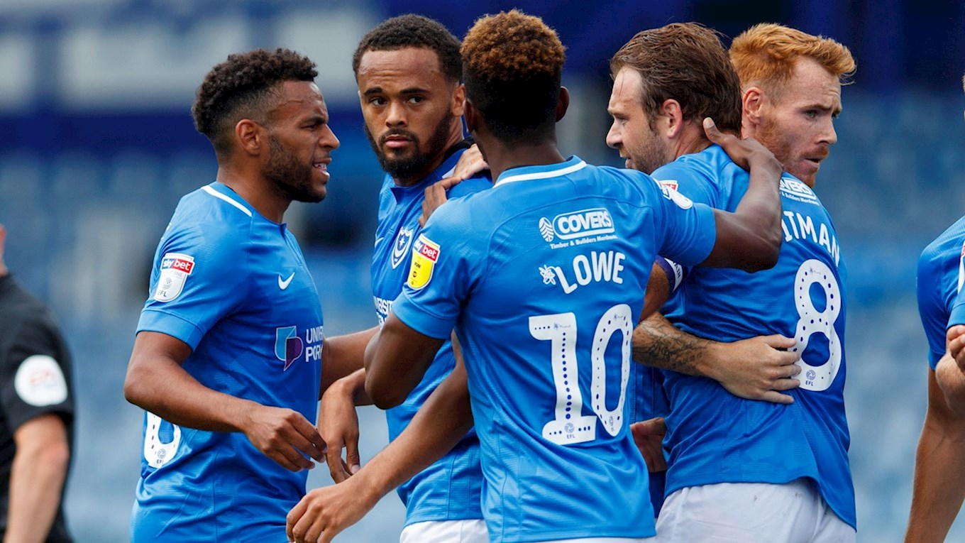 Anton Walkes celebrates scoring for Pompey against FC Utrecht